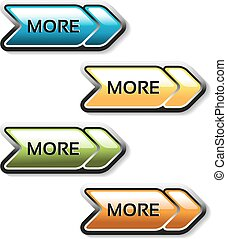 Vector read more buttons with arrows - labels on the white...