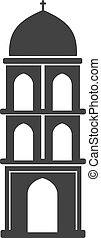 Vector architecture building symbol, historical building, black icon of simple church tower