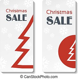 Vector red Christmas tree on the white snowflake background, labels of Christmas sale