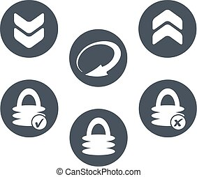 Vector circle buttons with symbol of arrow and padlock -...