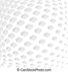 Vector squared monochrome pattern. Modern geometric texture in grey color. Stylish bulging tiles. 3d abstract dynamic background created of cubes