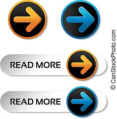 Vector read more buttons with arrow - labels on the white...