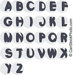 Vector 3D black font alphabet - simple capital letters in the sphere. Funny font.