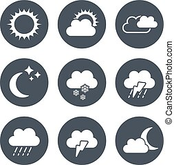 Vector set of grey circular buttons with weather symbols -...