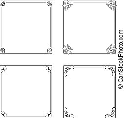 Vector black decorative frames, simple ornamental border