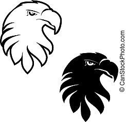 Vector symbols of eagle, black sketch head