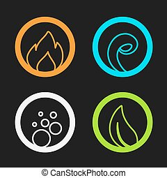 Vector four natural elements - fire, air, water, earth -...