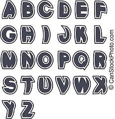 Vector 3D black font alphabet - simple capital letters. Funny font, plain line with border.