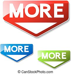 Vector buttons for website or app. Button - More. Red, green...