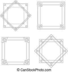 Vector black decorative frames, simple ornamental border -...