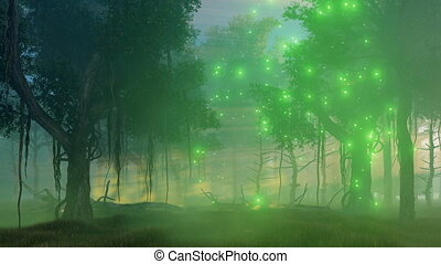 Magic lights in misty night forest - Misty spooky night...
