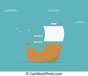 cartoon sailing ship. vector image
