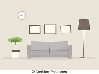 vector living room - living room with couch