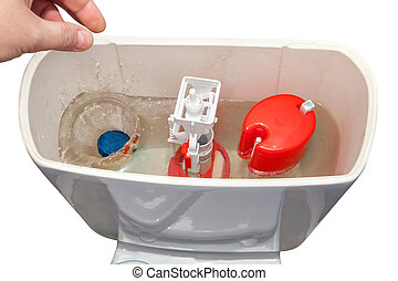 Hand throws blue cleaner tablet in flush tank toilet bowl. -...