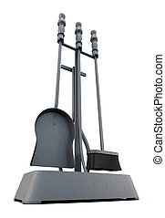 Fireplace tools isolated on a white background 3d rendering...