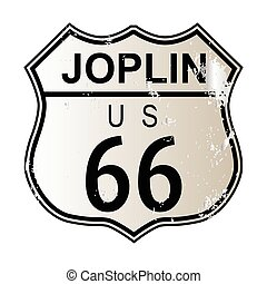 Joplin Route 66 traffic sign over a white background and the...