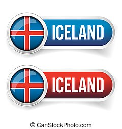 Iceland steel flag button vector set