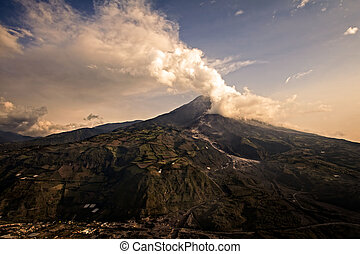 Tungurahua Volcano Powerful Explosion At Sunset, Ecuador,...