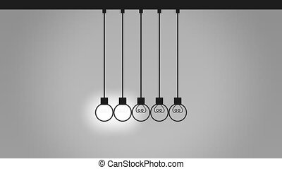Balancing bulb-like pendulum balls on wires. Newton's cradle. Idea, contact and communication concepts. 4K seamless loop able animation