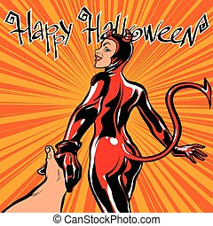 Happy Halloween devil girl follow me, pop art retro vector...