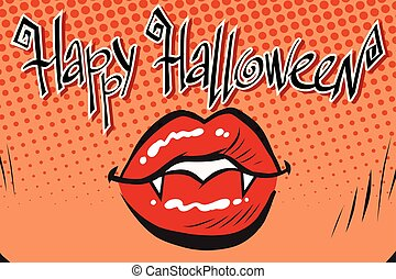 Happy Halloween mouth female vampire