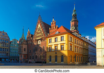 City hall on Market Square in Wroclaw, Poland - City hall...