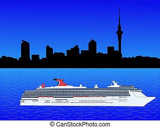 Cruise ship with Auckland skyline