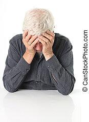 Senior depression - Senior man age 78 depressed with head in...