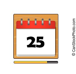 The Twenty-five days on the calendar vector