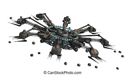 Spider shaped UFO with drones - 3D rendering of a...