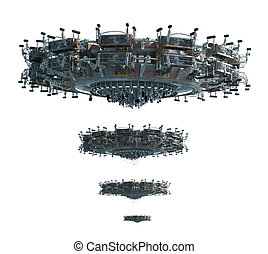Unidentified Flying Object - 3D illustrations of a UFO in...