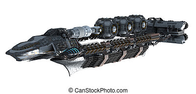 Detailed space station - 3d illustration of an intergalactic...