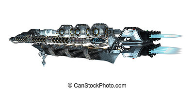 Detailed interstellar spaceship - 3d illustration of an...