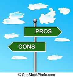 Pros, cons, street, signs, comparing, options, vector...
