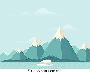 Mountain nature3 - Steamship with mountains in background....