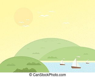 Summer hill - Yachts and green hills in the summer. Vector...