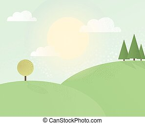 Summer hill2 - Forest in summer and the hills. Vector...