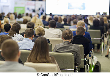 会議, ビジネス, 人々, 聴衆, スピーカー, 聞くこと, 前部, 概念, ステージ
