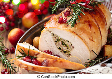 Turkey breast for holidays. - Stuffed turkey breast with...