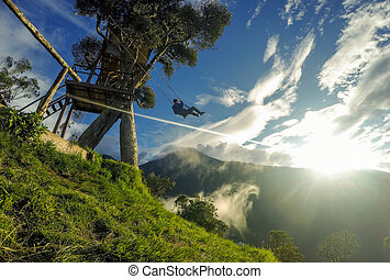 Happy Adult Man Swinging On A Swing Located At Casa Del...