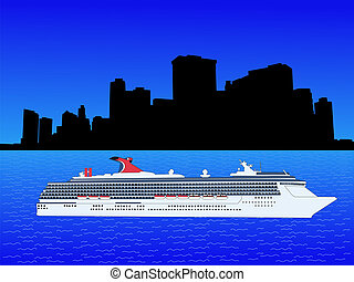 Cruise ship with manhattan skyline - Cruise ship in New york...