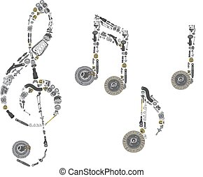 Treble clef assembled from spare parts - Treble clef...