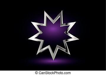 Bahai symbol, - Bahai symbol on purple background , Bahai...