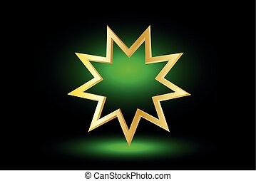 Bahai symbol, - Baha'i symbol on green background , Bahai...