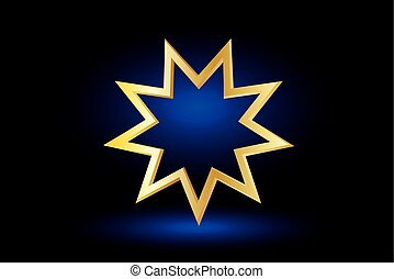 Bahai symbol, - Bahai symbol on blue background , Bahai...