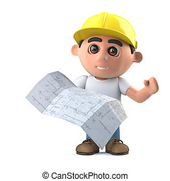 3d Construction worker looks at the plans - 3d render of a...