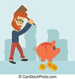 Man breaking piggy bank - A hipster Caucasian businessman...