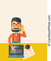 Telemarketing - Hipster Caucasian online customer service...