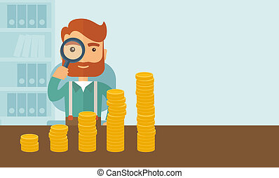 Growing business in financial aspects. - A hipster Caucasian...