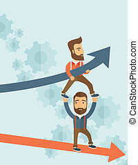 Blue growing successful business graph and businessmen - Two...